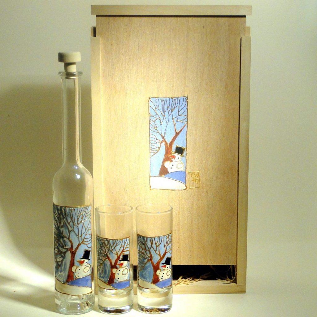 Flasche-Gläser-Set - handbemalt