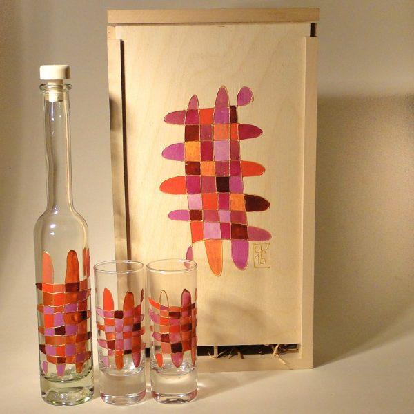 Flasche-Gläser Set - handbemalt