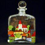 Glas-Flasche - handbemalt